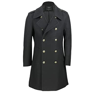 66882b49a0e Mens Vintage Military Style Wool Mix Double Breasted Jacket Slim Fit Long Winter  Overcoat in Black