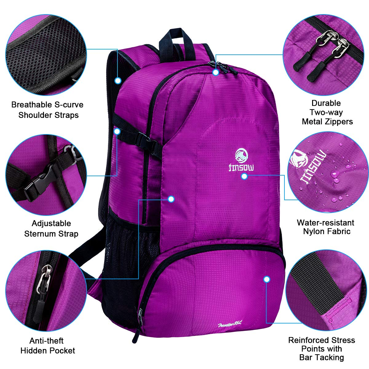 JINSOW 35L Lightweight Packable Hiking Backpack Daypack, Water Resistant Foldable Large Bags Travel Camping Outdoor Backpacks for Women Men Boys Girls Purple by JINSOW (Image #4)