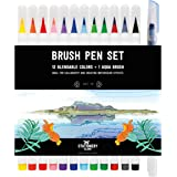 Stationery Island Brush Pens Real Brush Tips – Watercolour Pens Pack of 12 + 1 Aqua Brush