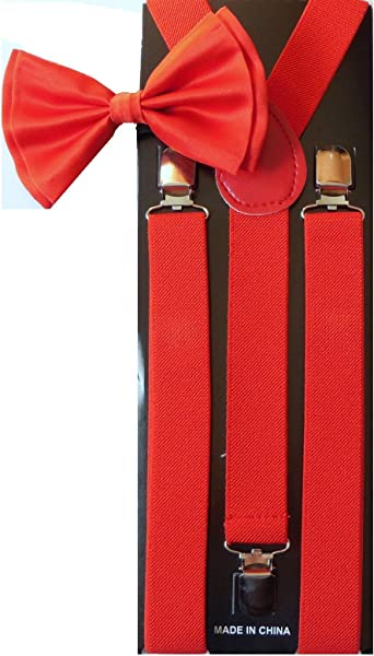 Awesome Dark Red Wedding Accessories Adjustable Bow Tie /& Suspenders