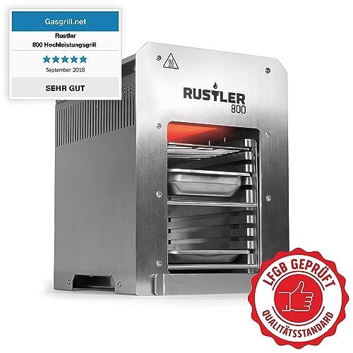Rustler 800 Hochleistungsgrill - Oberhitze Gasgrill aus Edelstahl für Temperaturen bis zu 800 C mit Piezozünder - 800 Grad Grill - Inkl Grillrost Auffangschale und Warmhalteschale