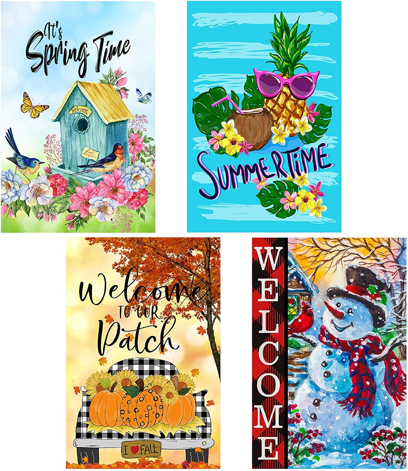Yileqi 4 Pack Seasonal Garden Flags Set Double Sided Welcome Spring Summer Fall Winter Garden Flag, Small Yard Flag for Outdoor Decorations 12.5x18 Inch, Fade Weather Resistant