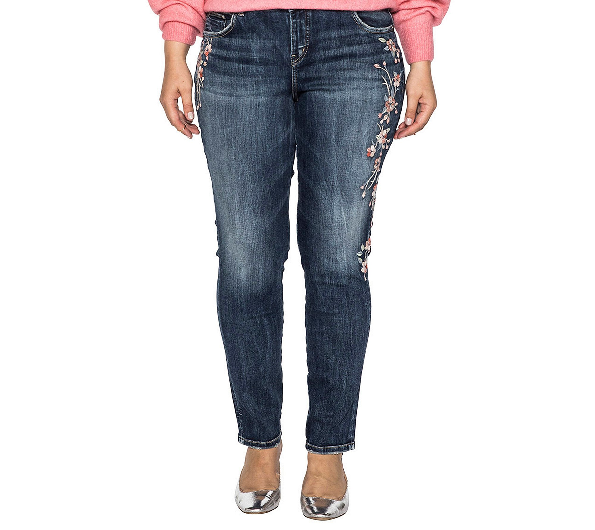 Silver Jeans Women's Plus Size Elyse Relaxed Fit Mid Rise Skinny Jeans, Vintage Indigo Embroidery, 18x29