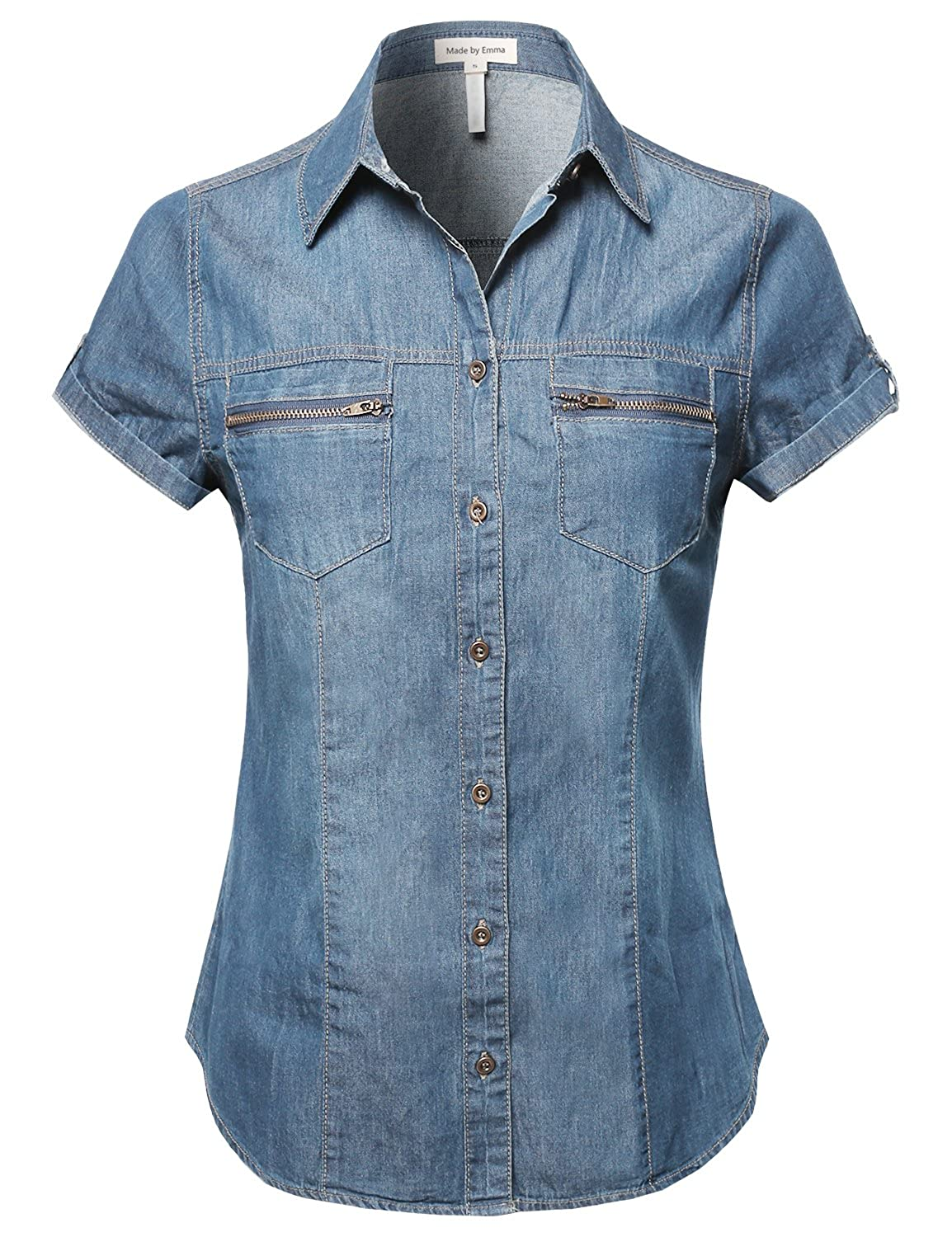 bd7587e43df Short Roll Up Sleeves Chest Pocket Denim Chambray Medium S at Amazon Women s  Clothing store