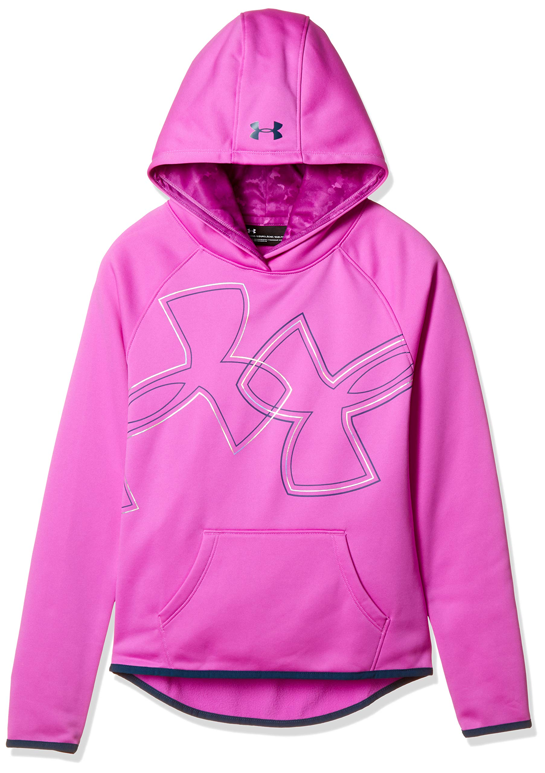 Under Armour Girls Armour Fleece Dual Logo Hoodie, Fluo Fuchsia (565)/Techno Teal, Youth X-Large by Under Armour