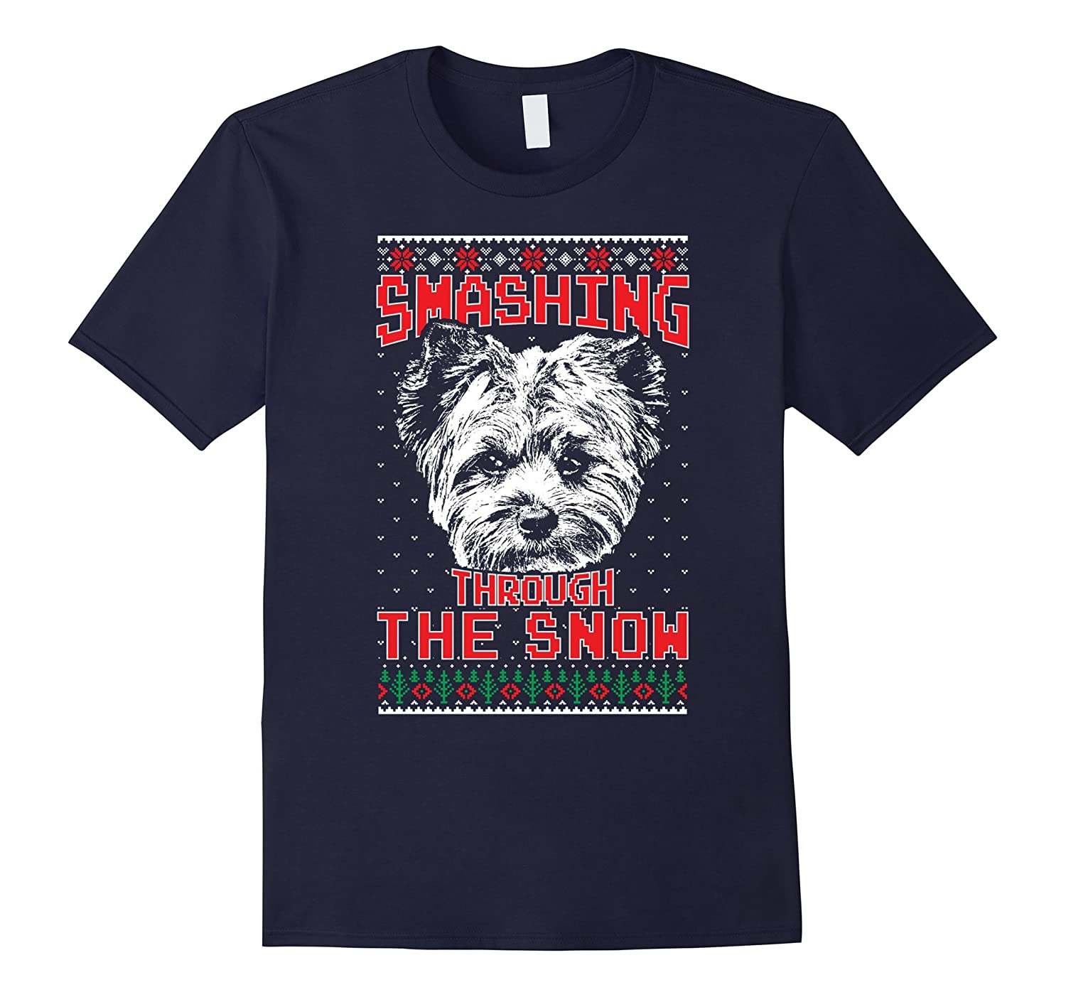 Yorkie Smashing Through The Snow Shirt Xmas Gift Anz Anztshirt