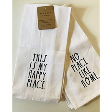 No Place Like Home/This is My Happy Place - Rae Dunn Farmhouse Black and White Large Letter Kitchen Dish Hand Towels Set of Two 100% Cotton