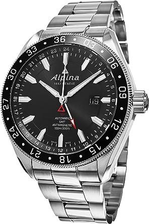 Amazoncom Alpina Alpiner GMT Automatic Black Dial Stainless - Alpina gmt