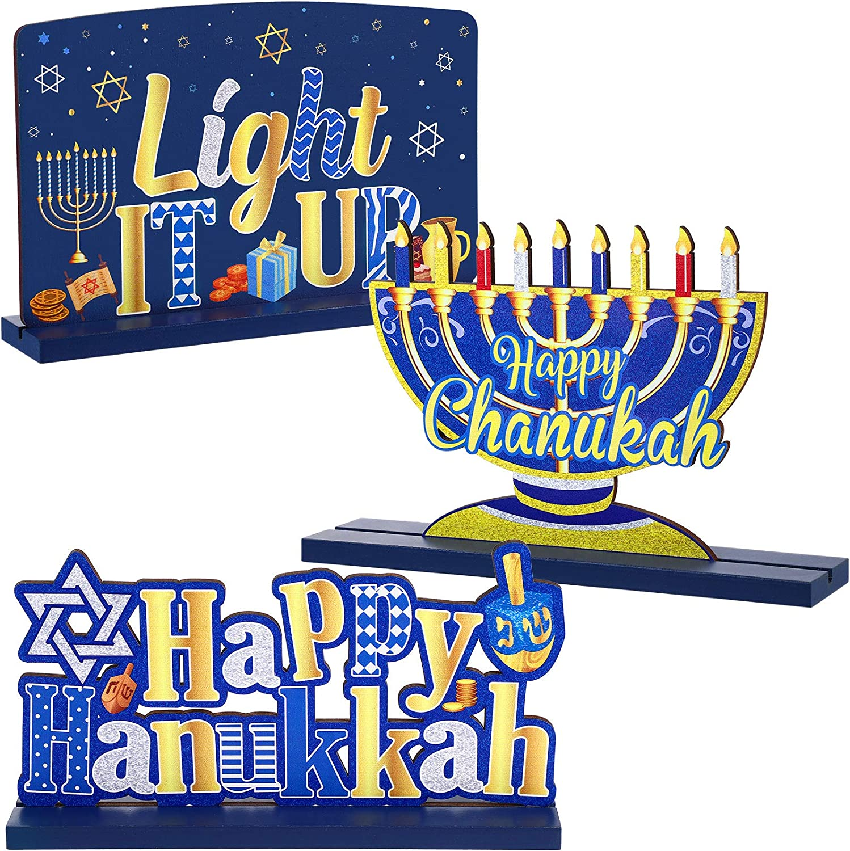 3 Hanukkah Decoration for Table Chanukkah Table Centerpiece Wooden Menorah Sign Dreidel for Winter Snow Day XMAS Chanukkah Party Dinner Coffee Tier Tray