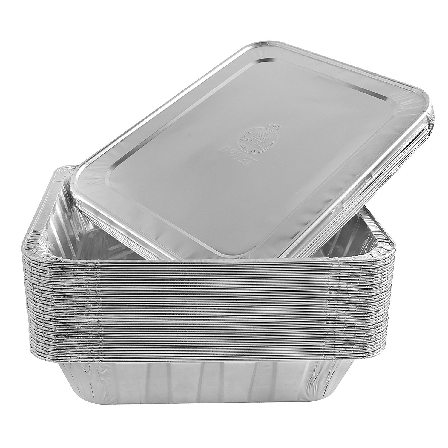 Jetfoil Aluminum Foil Steam Table Pans With Lids | Perfect for Catering, Party Supplies & Suitable for Broiling, Baking, Cakes and Pies - 9 x 13 Half size Deep | Pack of 30 by Jetfoil