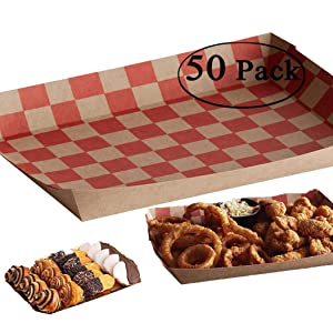 The Bakers Pantry Recyclable Brown Kraft Paper Food Trays Red Checkerboard Great for Parties, Takeout, Home Use, Outdoor red and Brown Paper Food Boat (50, 10 lb)
