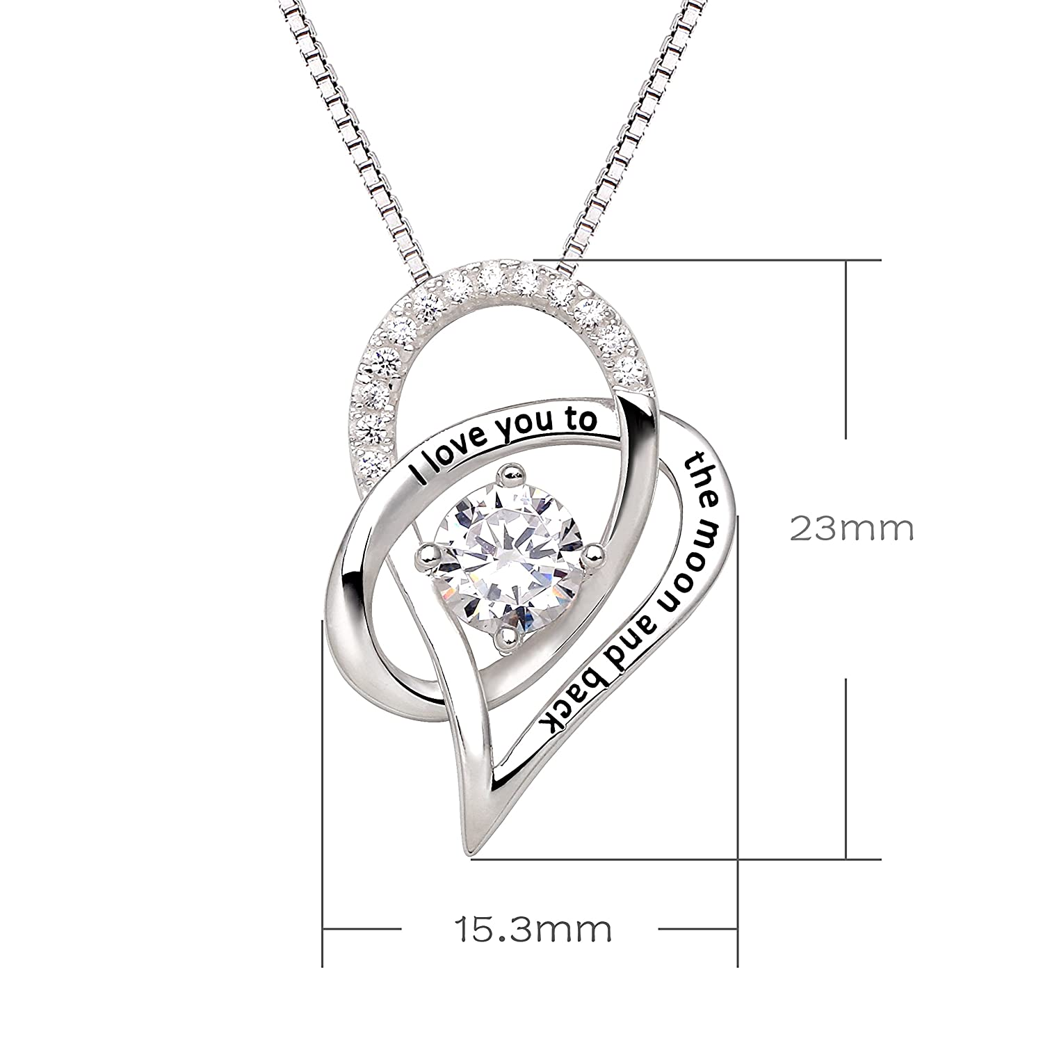Alov jewelry sterling silver i love you to the moon and back alov jewelry sterling silver i love you to the moon and back love heart cubic zirconia pendant necklace amazon jewellery mozeypictures Choice Image