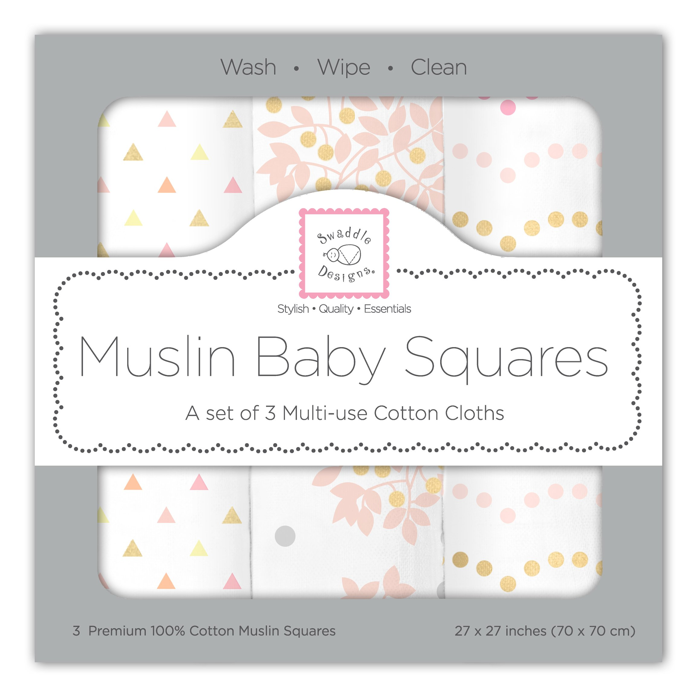 SwaddleDesigns Cotton Muslin Squares, Set of 3, Pink Heavenly Floral with Shimmer