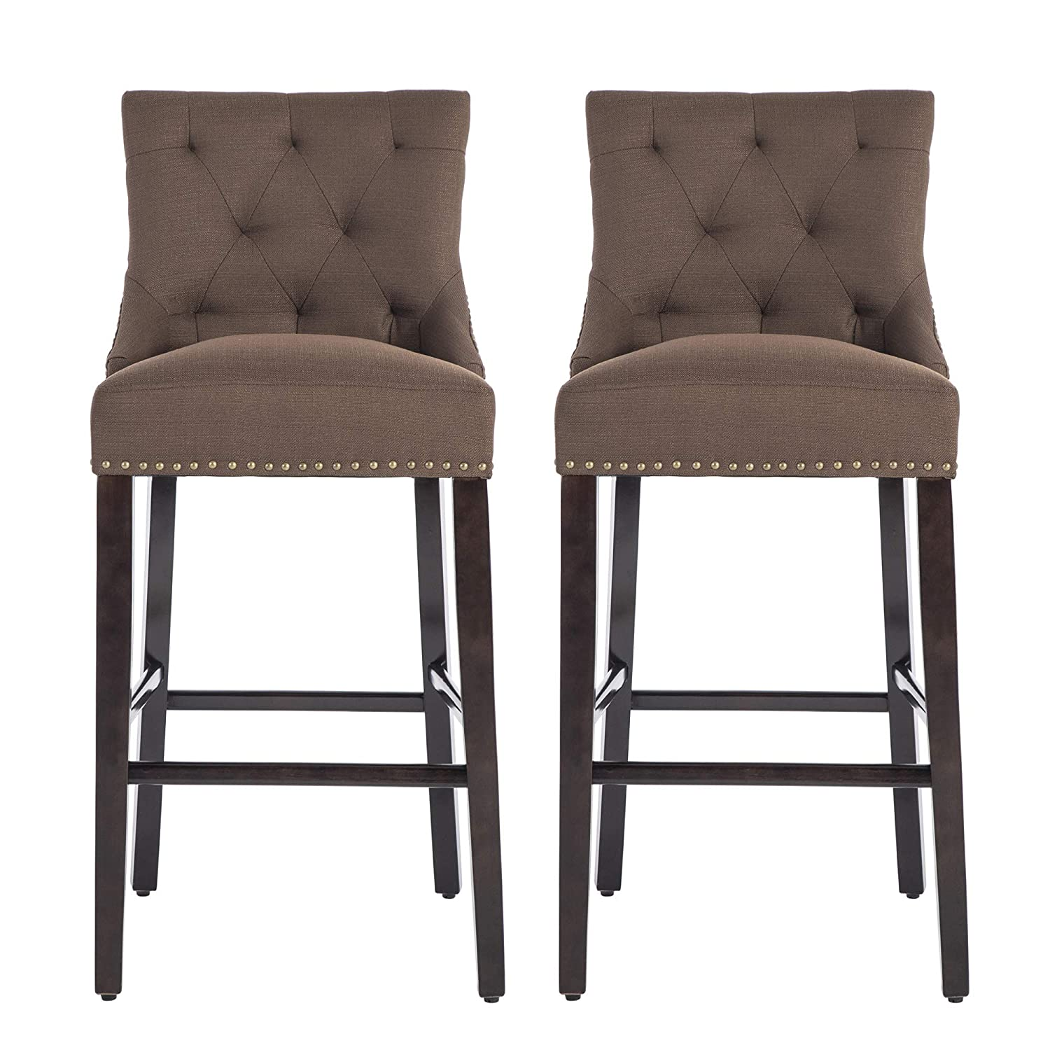 NOBPEINT Roll Over Image to Zoom in 30 inch Bar Stools with Polished Nailhead Wood Legs in Coffee,Set of 2