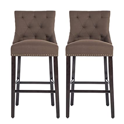 Enjoyable Nobpeint Roll Over Image To Zoom In 30 Inch Bar Stools With Polished Nailhead Wood Legs In Coffeeset Of 2 Bralicious Painted Fabric Chair Ideas Braliciousco