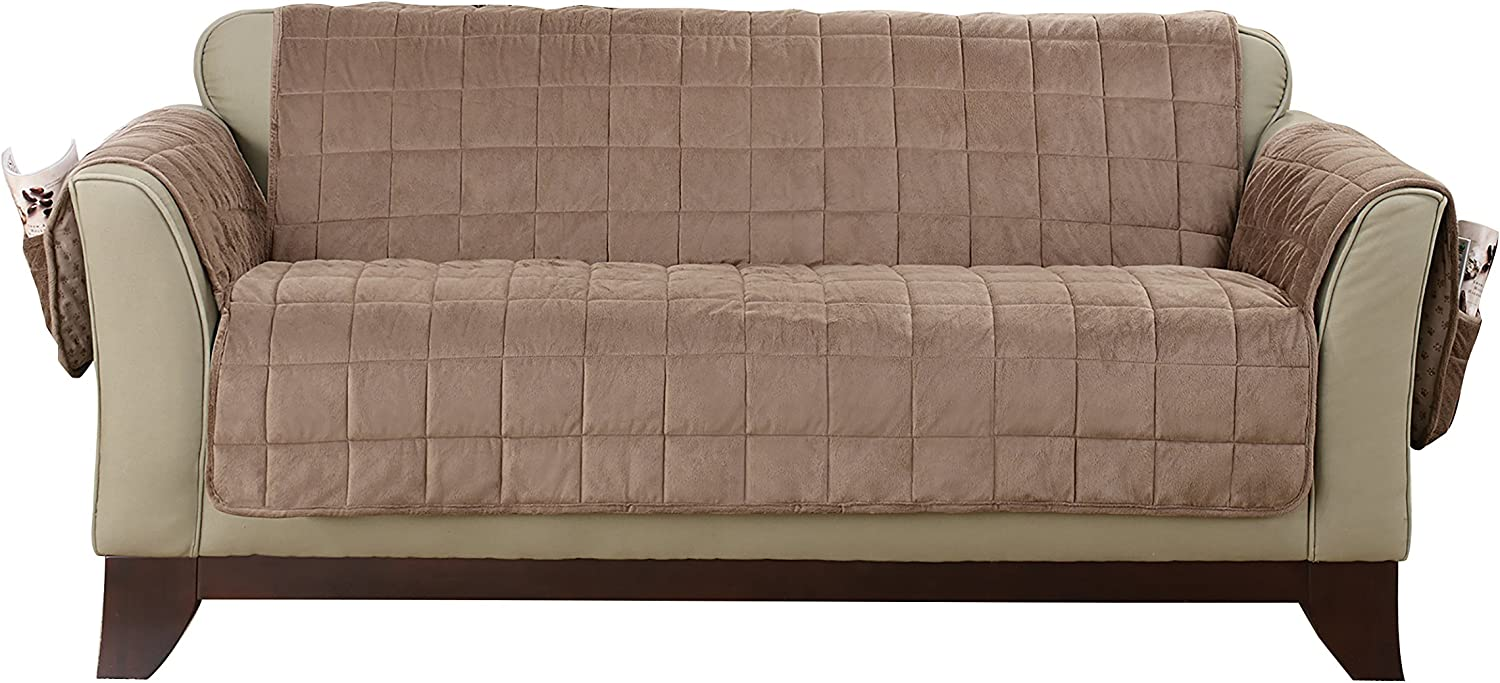 SURE FIT Deep Pile Velvet Loveseat Furniture Cover - Sable