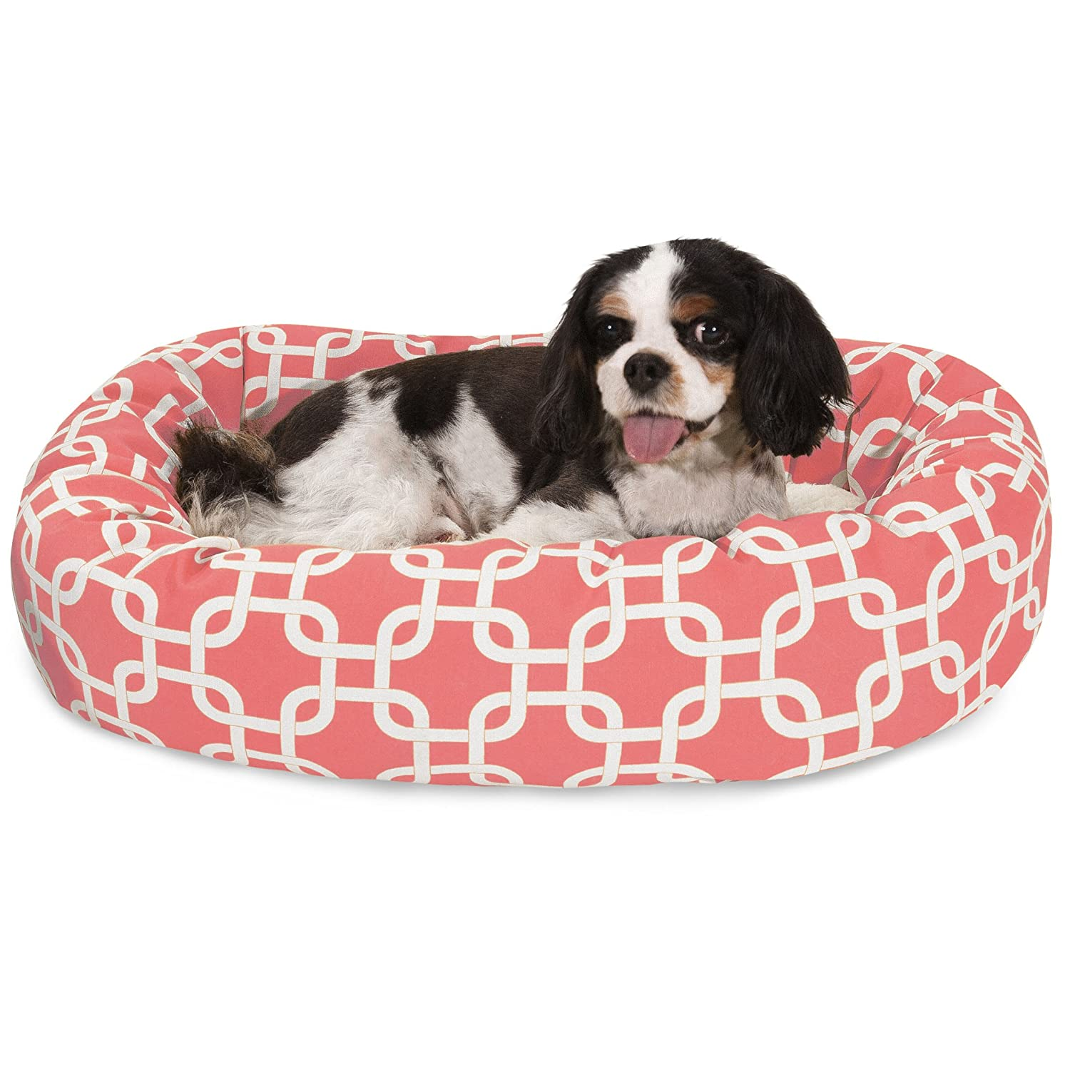 24 Inch Coral Links Sherpa Bagel Dog Bed