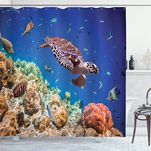 Giant Turtle Swimming In Sea With Fish Bathroom Shower Curtain Polyester Hooks