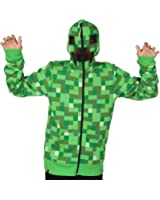 JINX Minecraft Creeper Premium Zip-Up Youth Hoodie Sweatshirt