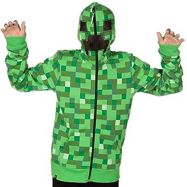 518a8fa7795 Amazon.com  JINX Minecraft Big Boys  Creeper Premium Zip-Up Hoodie ...