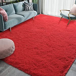 Homore Luxury Fluffy Area Rug Modern Shag Rugs for Bedroom Living Room, Super Soft and Comfy Carpet, Cute Carpets for Kids Nursery Girls Home, 4x6 Feet Red