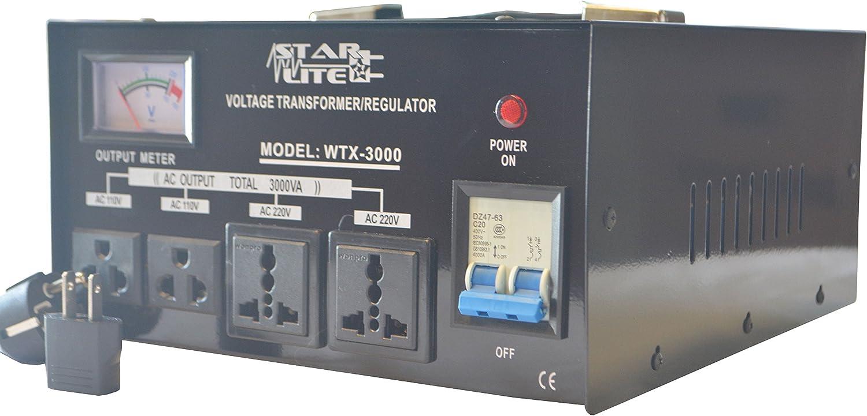 Transformador convertidor de voltaje Starlite de 3000 W, paso arriba/abajo, WTX-3000, protección de fusibles y regulador de voltaje automático, transformador de dos vías, 110 a 220 V o 220 a 110 V