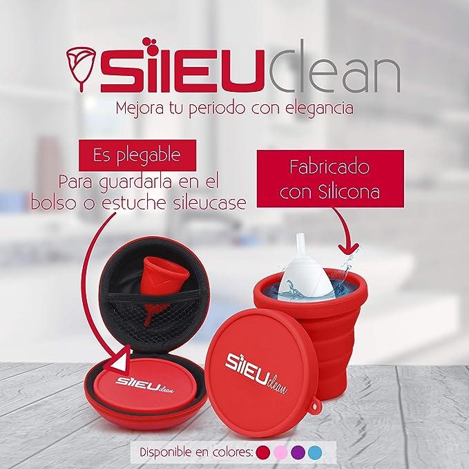 Sileu Esterilizador Plegable de Silicona con Tapa Reutilizable para Esterilizar la Copa Menstrual en el Microondas - Color Morado
