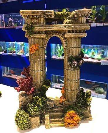 Aq Aquarium Dekoration Mit Zwei Saulen Griechische Ruine Mit Bunten Korallen Amazon De Haustier