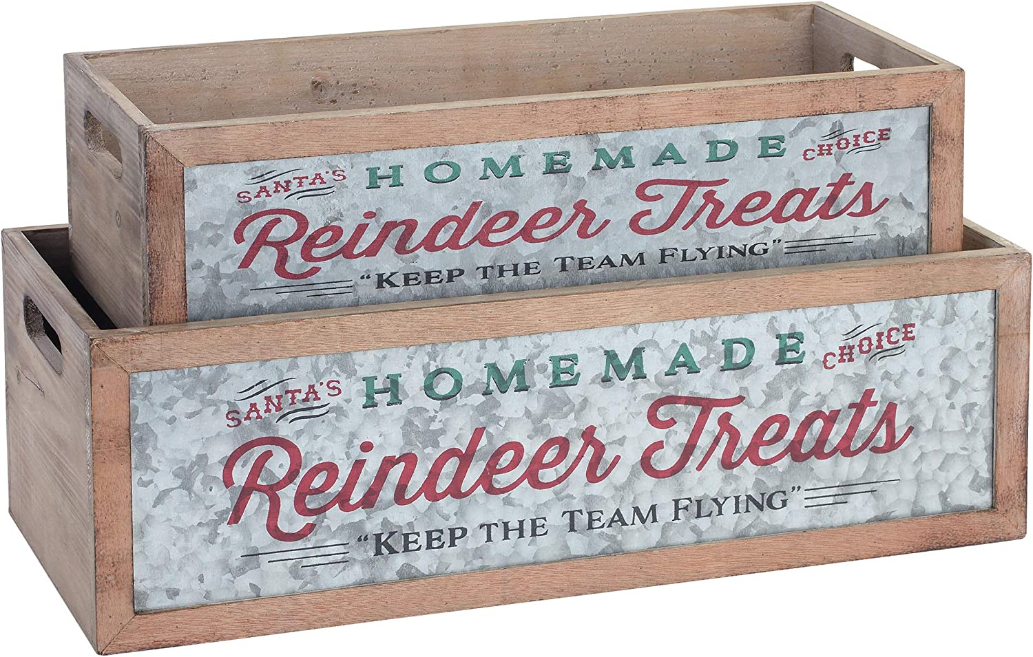 Napco Homemade Reindeer Treats Red and Green 19.5 x 6.25 Wood Decorative Planter Box, Set of 2
