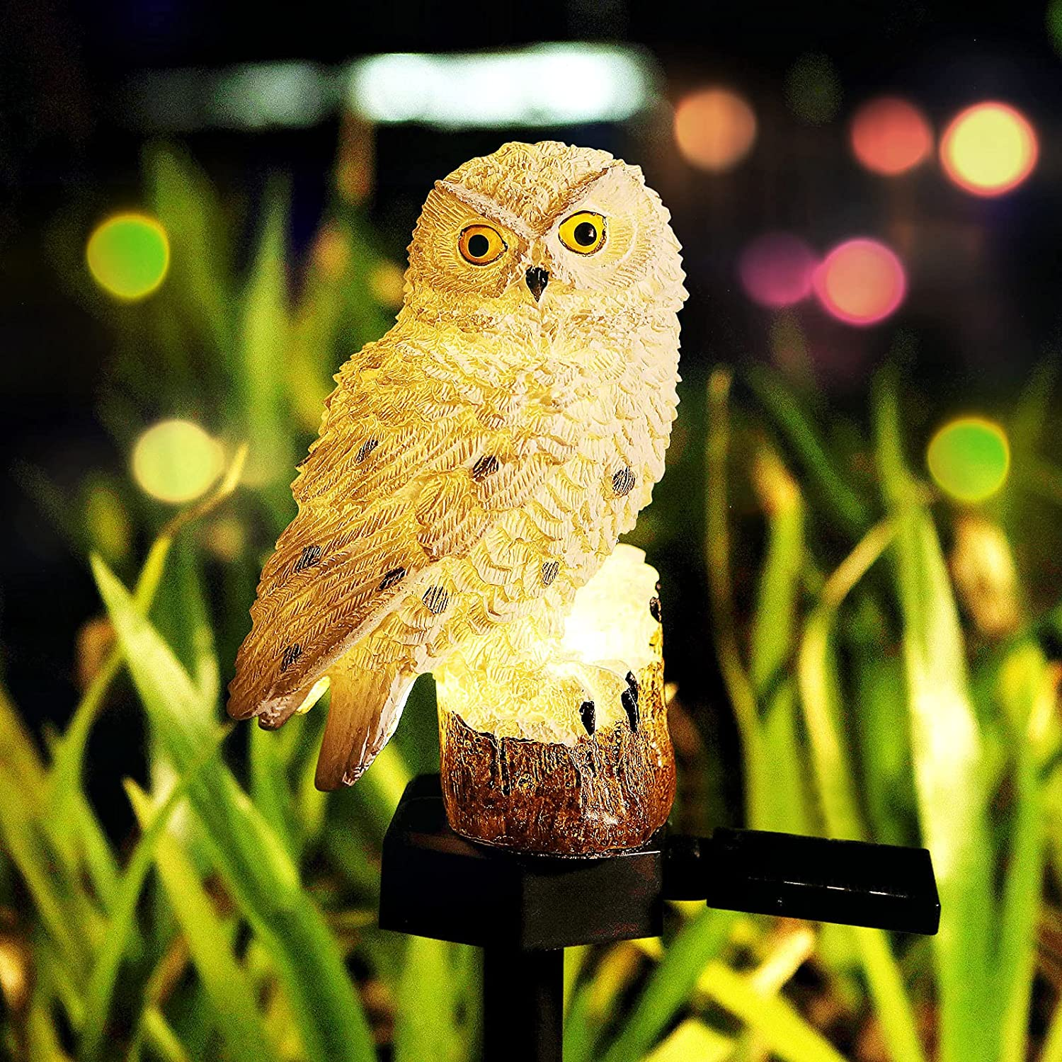 Solar Lights Outdoor Garden, E-Kong Resin Owl Solar Powered Lights with Stake, Waterproof Garden Decorative Lights for Landscape Patio Yard Pathway Decor