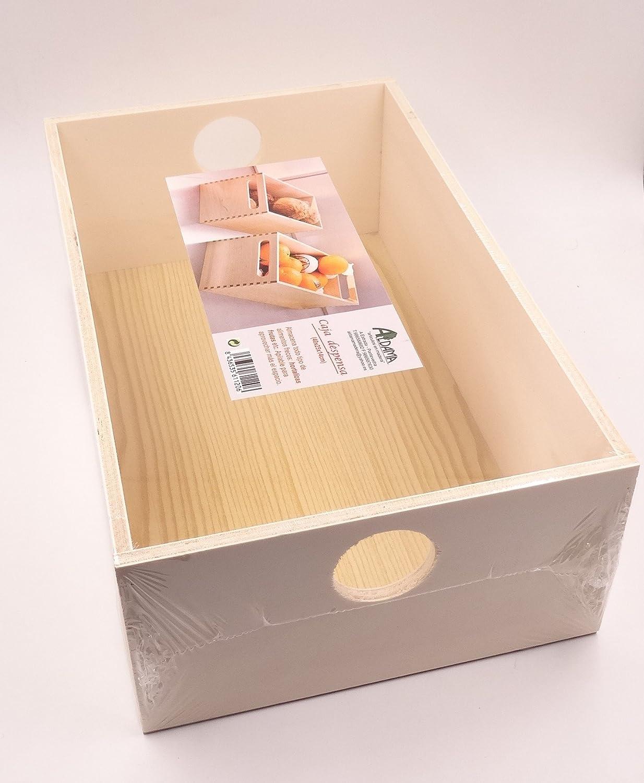 Caja para almacenamiento 40x25x13.5cm aprox. madera (1 ...
