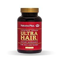 NaturesPlus Ultra Hair, Sustained Release - Natural Hair Growth Supplement for Men & Women - 90 Vegetarian Tablets (45 Servings)
