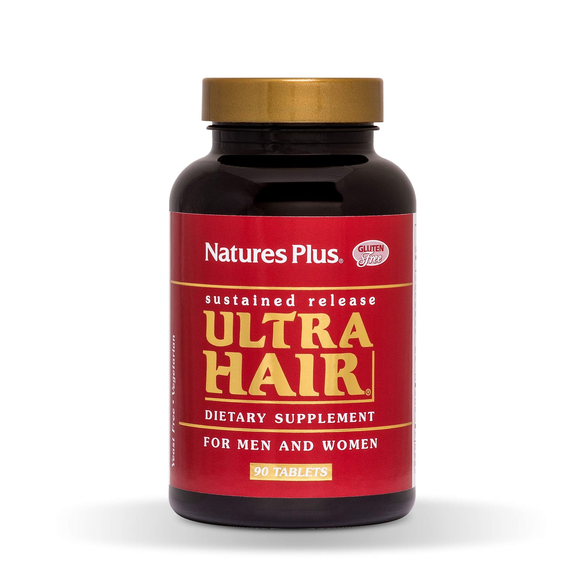 NaturesPlus Ultra Hair, Sustained Release - 90 Vegetarian Tablets - Natural Hair Growth Supplement for Men & Women - Longer, Thicker Hair - Gluten-Free - 45 Servings