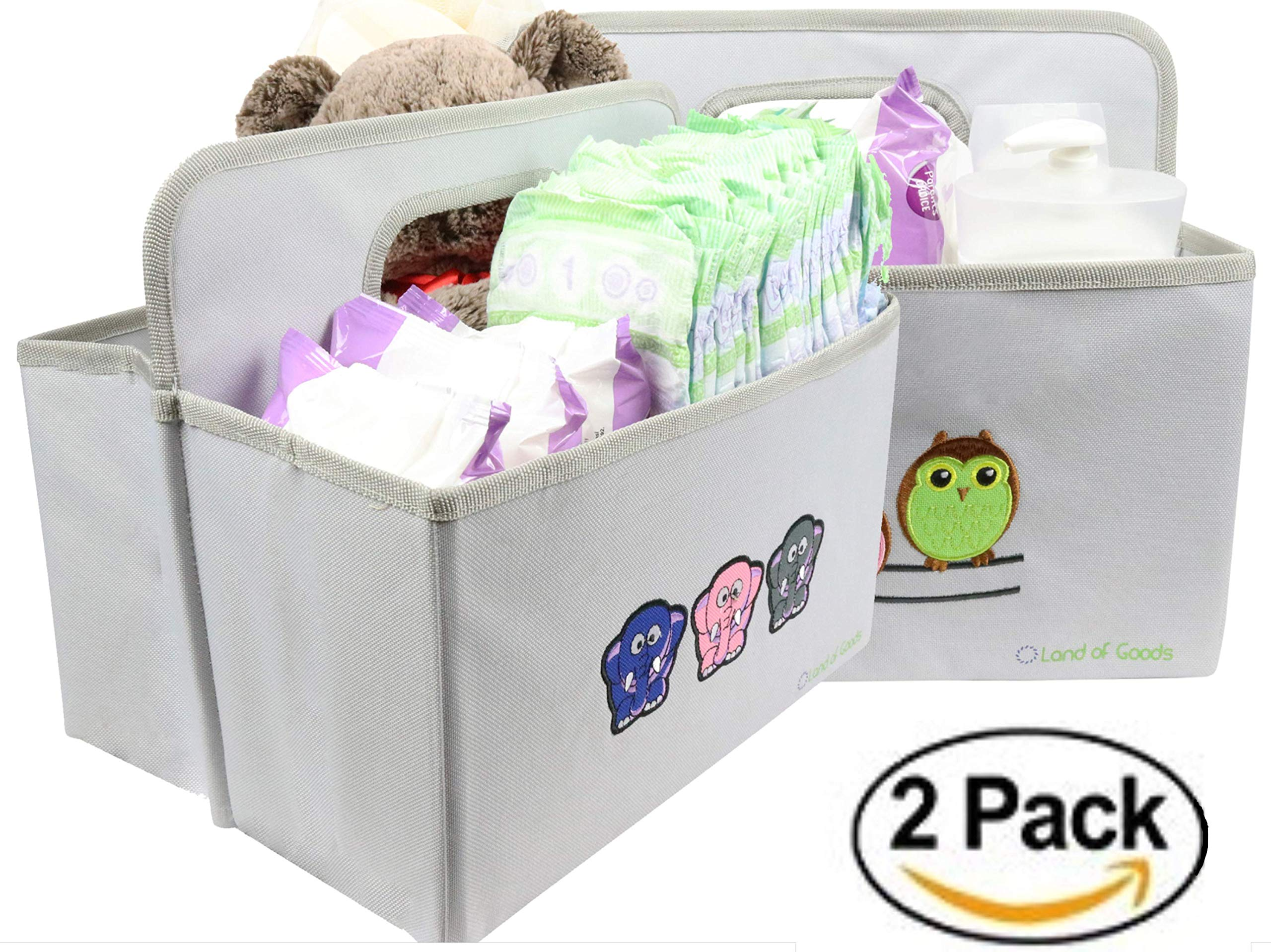 Pack of 2 Collapsible Nursery Storage Bins/Diaper Caddy Organizers/Portable Car Tote Holder for Girls and Boys for Newborn Registry (Elephants & Owls) by Land of Goods