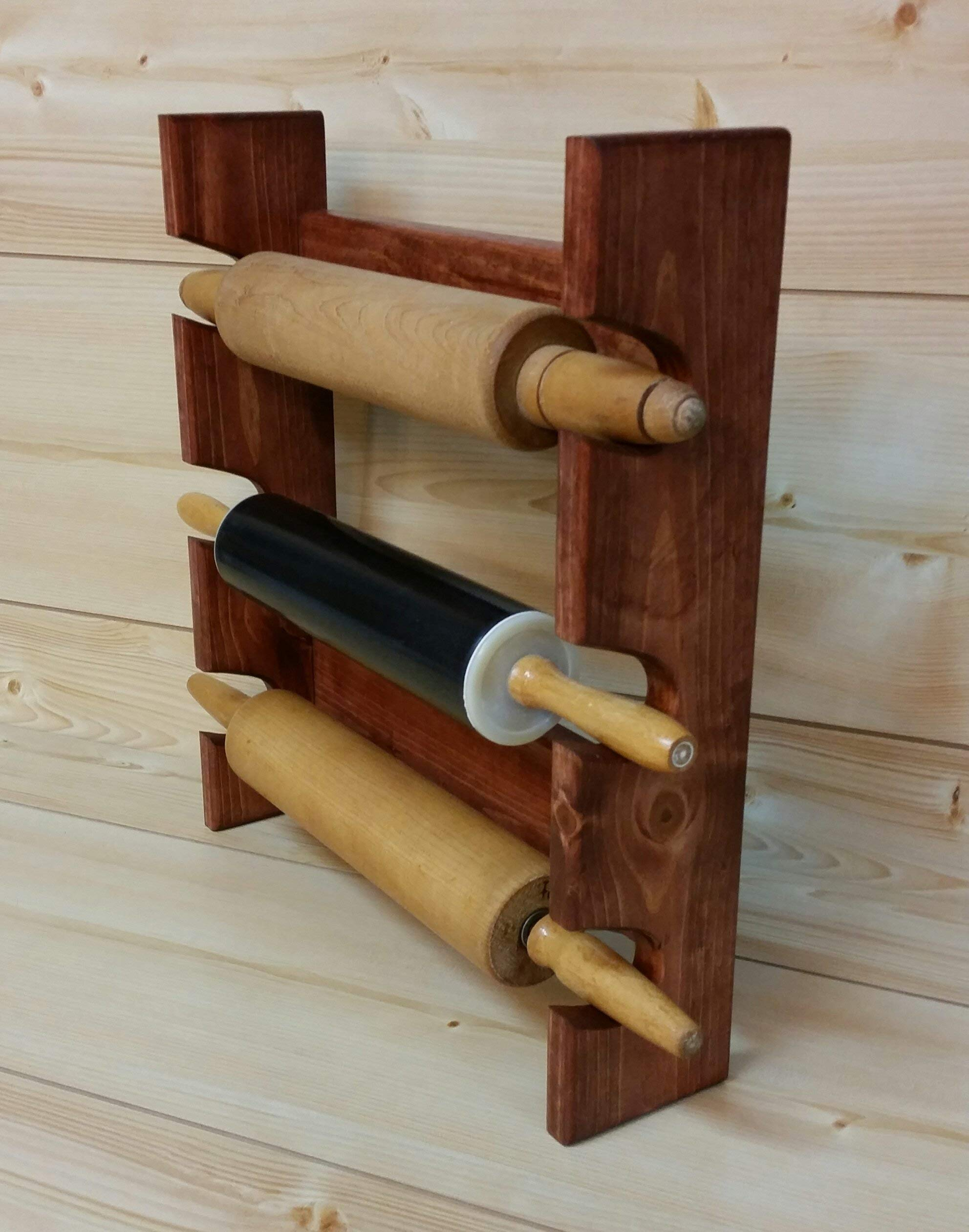 Rolling Pin Rack with Three Slots - Multiple Rolling Pin Rack - Rolling Pin Holder - Rolling Pin Storage