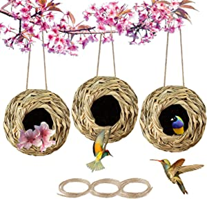PiiSheou 3 Pack Humming Bird Houses for Outside Hanging, Hand Woven Grass House of Hummingbird, Ball Shape Hanging Bird House with Rope for Indoor Outdoor Window Gargen, Gifts for Birders Finch Canary