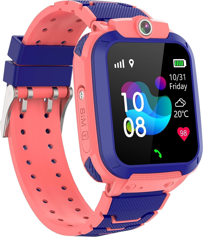 Zeerkeer GPS Reloj Inteligente Niños,Smartwatch Niños con GPS+LBS Impermeable IP67 SOS Cámara Smart Watch Telefono con Ranura para Tarjeta SIM, Regalo Niño Niña de 3-12 Años