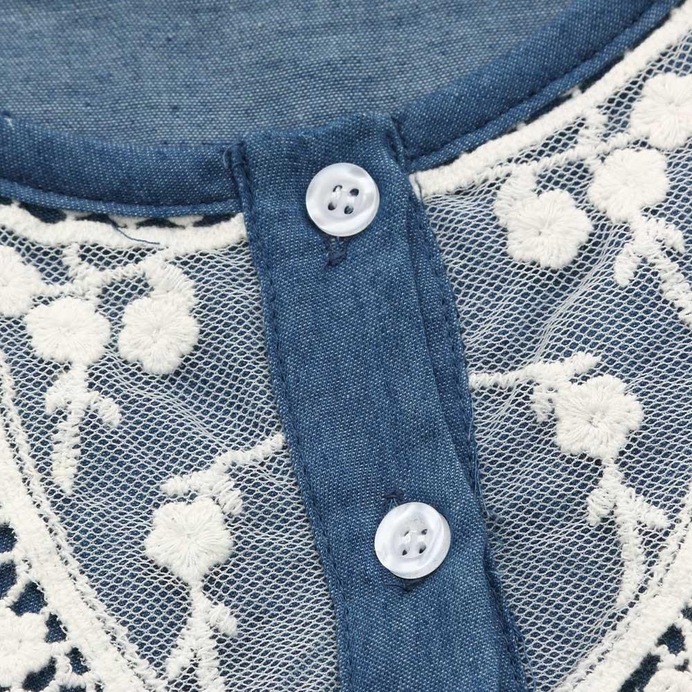 SiQing Toddler Kids Baby Girls Denim Dress Lace Princess Short Sleeve Tutu Dress Belt Tuller Birthday Clothes Outfits