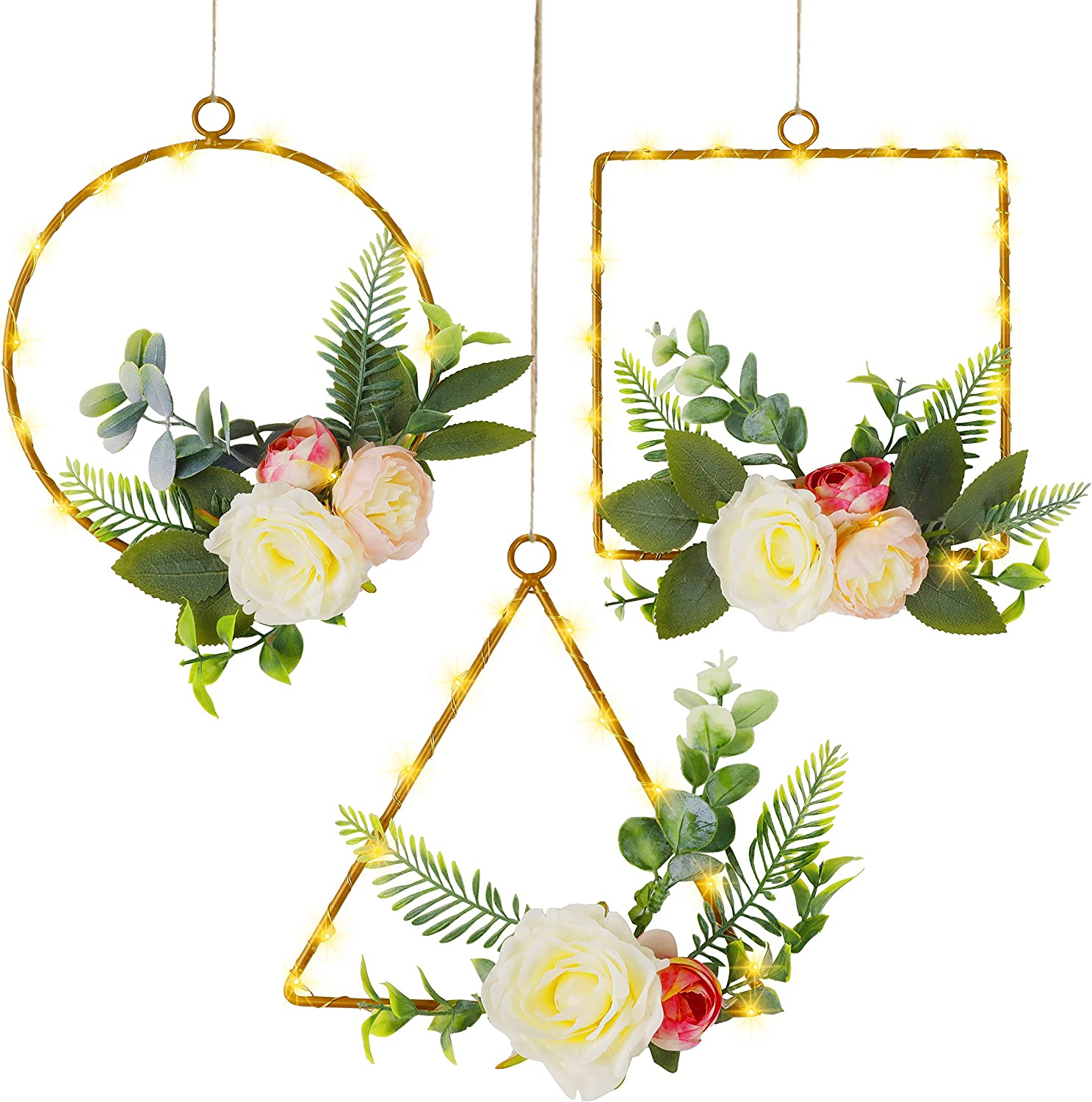 Twinkle Star Set of 3 Lighted Floral Hoop Wreath, Artificial Peony Flower Eucalyptus Wreath with 70 LED Copper Lights Battery Powered, Hanging Vintage Wall Art for Wending Party Living Room, Bathroom