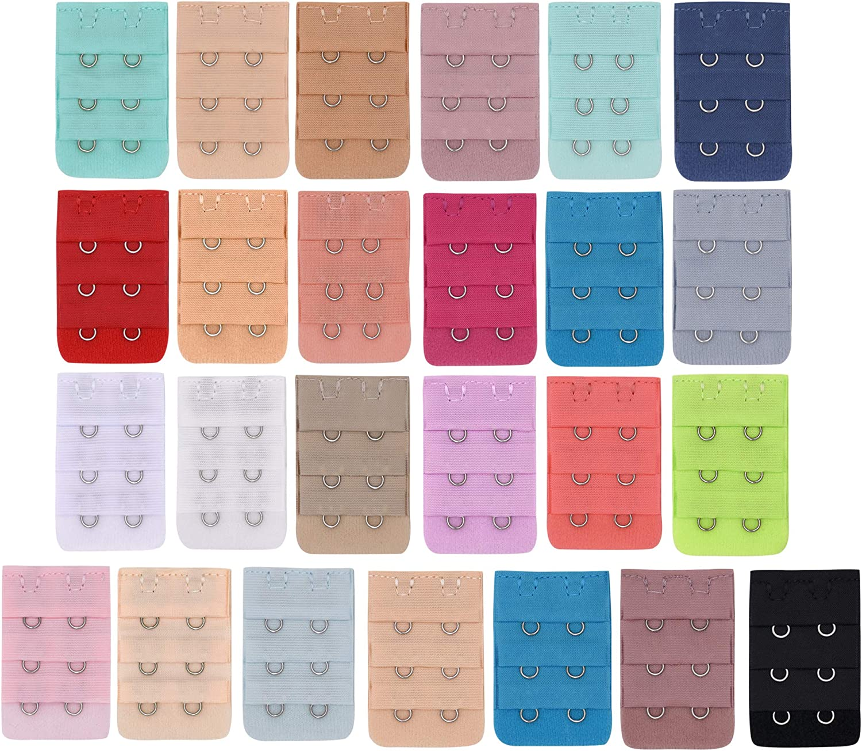 Multicolour Soft Comfortable Bra Strap Extensions 3 Rows x 3 Hooks BOZEVON Womens Bra Extenders 2 Hooks