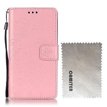 Carcasa Samsung Galaxy Core Prime G360 , Camiter rosado Diseño de mariposa en relieve Cover Carcasa Con Flip Case TPU Gel Silicona,Cierre ...
