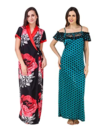 b248bd1070 KEOTI Satin Full Robe with Nighty Gown Maxi - Pack of 2  Amazon.in   Clothing   Accessories