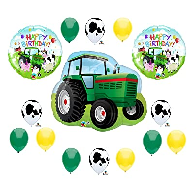 Tractor Birthday Party Balloons Decorations Farm Animal Cow John Deere Shower (MULTI, 1): Toys & Games