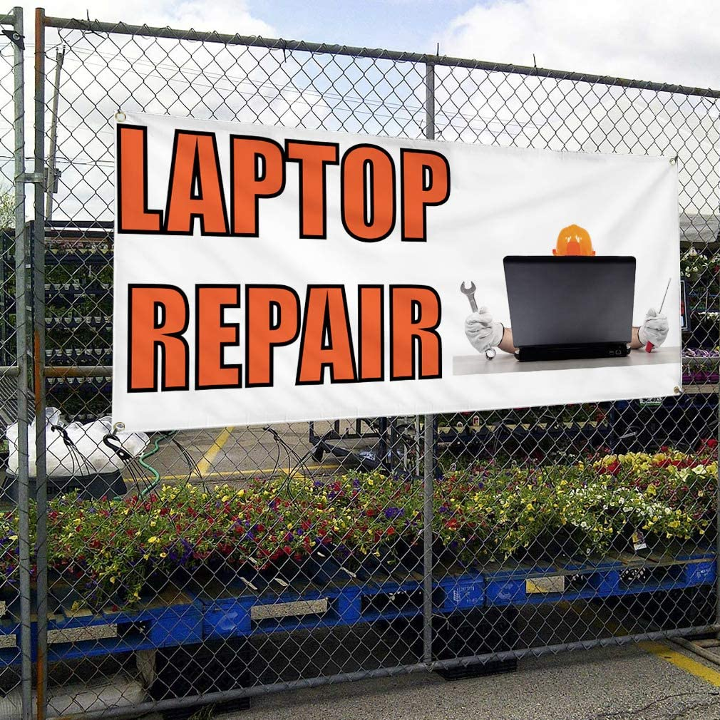 Vinyl Banner Multiple Sizes Laptop Repair A Outdoor Advertising Printing Business Outdoor Weatherproof Industrial Yard Signs 10 Grommets 60x144Inches