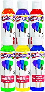 product image for Colorations Liquid Watercolor Paint, 4 fl oz, Set of 6, Non-Toxic, Painting, Kids, Craft, Hobby, Fun, Water Color, Posters, Cool Effects, Versatile, Gift