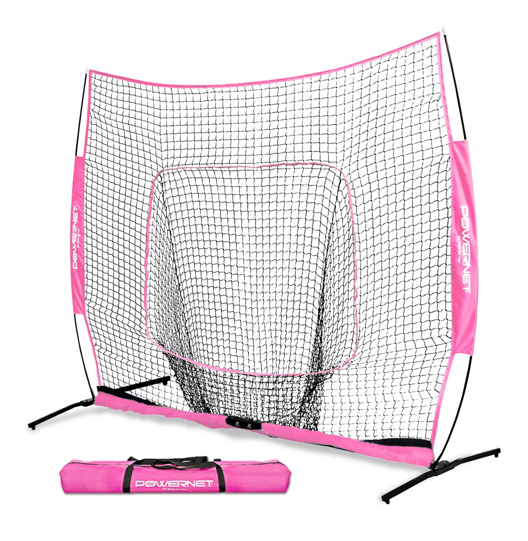 PowerNet 7x7 PRO Net with One Piece Frame (Pink) | Baseball Softball Practice Net | Training Aid for Hitting Pitching Batting Fielding Portable Backstop | Bow Style Frame | Non-Tip Weighted Base by PowerNet