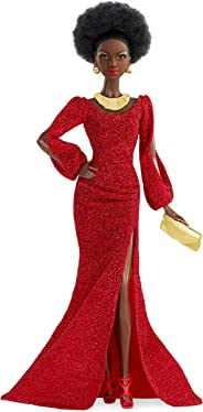 Barbie Signature 40th Anniversary First Black Doll, Approx. 12-in, Wearing Red Gown, with Accessories, Doll Stand and Certif