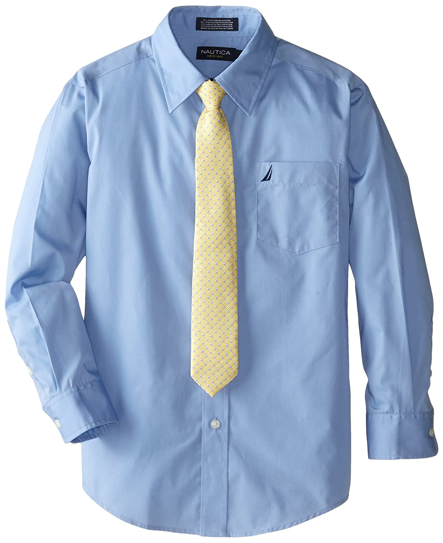 Amazon.com: Nautica Dress Up Big Boys\' Poplin Shirt And Tie Set ...