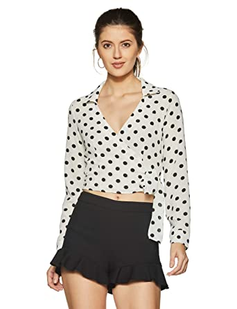 a72bb0a1a5 Forever 21 Women s Polka Dot Slim Fit Shirt  Amazon.in  Clothing    Accessories