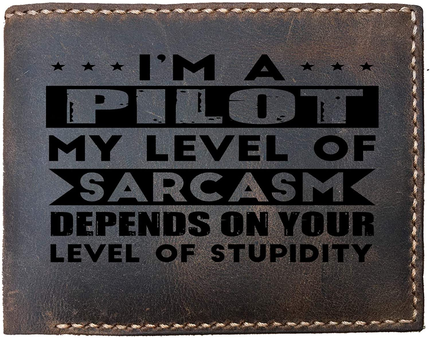 Lobsteray Level Of Pilots Sarcasm Funny Offensive Custom Laser Engraved Leather Bifold Wallet for Men